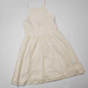 American Eagle Cream Lace High Neck Scallop Dress